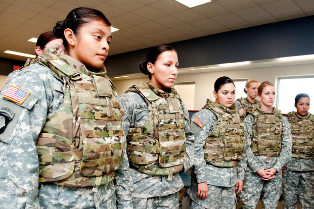 Members of the 101st Airborne Division's 1st Brigade wear female body armor, named one of Time Magazine's best inventions of 2012. (David Kamm/Natick Soldier Research, Development and Engineering Center)
