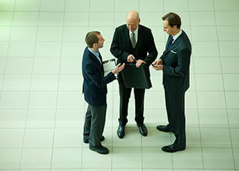 businessmen in circle