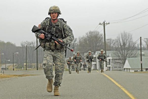 Army infantryman march.