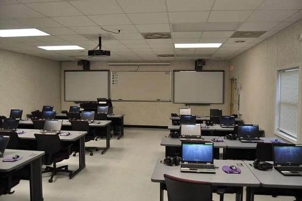 Computers in a classroom.