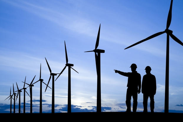 Wind power workers