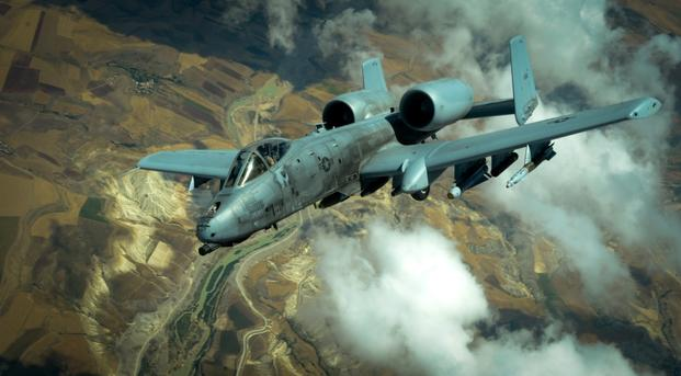 A U.S. Air Force A-10 Thunderbolt II departs after receiving fuel from a 908th Expeditionary Air Refueling Squadron KC-10 Extender during a flight in support of Operation Inherent Resolve May 31, 2017.The aircraft can loiter near battle areas for extended periods of time and operate in low ceiling and visibility conditions. The wide combat radius and short takeoff and landing capability permit operations in and out of locations near front lines.