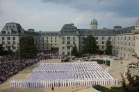 The 1,192 members of the U.S. Naval Academy's incoming Class of 2019 gather in Tecumseh Court for the Induction Day Oath of Office Ceremony. (Navy Photo)