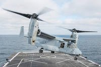 An MV-22 Osprey, assigned to Marine Medium Tiltrotor Squadron (VMM) 164, takes off from the flight deck of San Antonio-class amphibious transport dock ship USS Anchorage (LPD 23), July 27, 2017. (U.S. Navy photo/Matthew Dickinson)