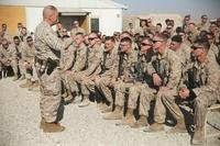 Commandant of the Marine Corps Gen. Robert B. Neller speaks with Marines and Sailors assigned to Task Force Southwest at Camp Shorab, Afghanistan, Dec. 23, 2017. (U.S. Marine Corps photo/Lucas Hopkins)