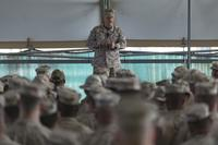 Commandant of the Marine Corps Gen. Robert B. Neller speaks with Marines and Sailors of the Special Purpose Marine Air-Ground Task Force – Crisis Response – Central Command while in the Middle East Dec. 21, 2017. (U.S. Marine Corps/SSgt. Phillip Elgie)