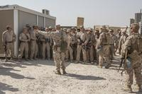 Commandant of the Marine Corps Gen. Robert B. Neller speaks to Marines with Special Purpose Marine Air-Ground Task Force Crisis Response-Central Command at Al Taqaddum, Iraq, on June 17, 2017. (U.S. Marine Corps photo by Cpl. Samantha K. Braun)