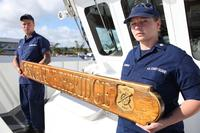 The Coast Guard Cutter Richard Etheridge nameboard is seen Feb. 23, 2013, and was donated from the structure of the Etheridge family homestead in Manteo, N.C. Capt. Etheridge was the first African-American keeper of the Pea Island Life-Saving Station located on the northern half of Hatteras Island off the North Carolina coast, where treacherous waters churn in the Graveyard of the Atlantic. (Petty Officer 1st Class Krystyna Hannum/Coast Guard)