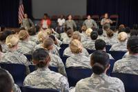 More than 250 female Airmen fill the Community Activity Center for the first ever 82nd Training Wing Female Airmen Forum, May 16, 2017. (U.S. Air Force/2nd Lt. Jacqueline Jastrzebski)