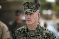 Sgt. Maj. Bradley Kasal, the outgoing I Marine Expeditionary Force sergeant major, observes the relief and appointment ceremony on Camp Pendleton, Calif., on May 18, 2018. Sgt. Maj. James Porterfield replaced Kasal as I MEF sergeant major. Kasal has served as I MEF sergeant major since 2015 and is retiring from the Marine Corps after 34 years of service. (U.S. Marine Corps photo by Cpl. Jacob Farbo)