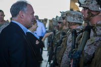 U.S. Sen. Tim Kaine of Virginia speaks to the U.S. Marines and Sailors of the Special-Purpose Marine Air-Ground Task Force Crisis Response (SP-MAGTF Crisis Response) during a congressional delegation visit led by Sen. Kaine aboard Naval Station Rota, Spain, Sept. 4, 2014. (U.S. Marine Corps photo/Andre Dakis)