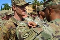 Maj. Gen. Ronald P. Clark, commander, 25th Infantry Division, pins on the Expert Infantryman Badge on an awardee at Schofield Barracks, Hawaii, on June 15, 2018. (U.S. Army/Staff Sgt. Armando R. Limon)