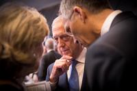 Defense Secretary James N. Mattis confers with leaders during a NATO summit in Brussels, July 12, 2018. (NATO photo)