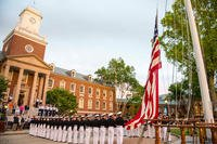 The U.S. Coast Guard Academy Corps of Cadets holds a sunset regimental review, May 20, 2018.  (U.S. Coast Guard photo/Nicole Foguth)
