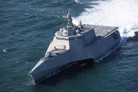 The future USS Tulsa (LCS 16) is underway for acceptance trials, which are the last significant milestone before delivery of the Independence-variant littoral combat ship to the Navy, March 8, 2018. (U.S. Navy photo courtesy of Austal USA)
