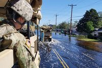 U.S Army Soldiers travel through parts of North Carolina during high water rescue operations in support of the Hurricane Florence Relief effort at Lumberton, North Carolina, Sept. 19, 2018. (U.S. Army photo/Joshua Ford)
