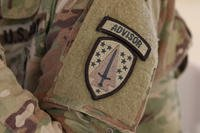 The 1st Security Force Assistance Brigade (SFAB) patch on a U.S. Army soldier's sleeve. (NATO photo/Aubrey Page)