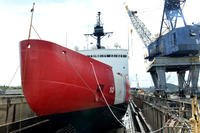 Coast Guard Cutter Polar Star sits on blocks in a Vallejo, Calif., dry dock facility undergoing depot-level maintenance including inspections and repairs to critical cutter components prior to the cutter's next patrol, April 16, 2018. (U.S. Coast Guard photo/Matthew S. Masaschi)