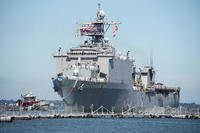 The amphibious dock landing ship USS Carter Hall (LSD 50) returns to homeport at Naval Station Norfolk, Sep 23, 2017. (U.S. Navy photo/Justin E. Yarborough)