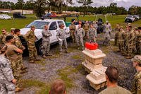Members of the Florida National Guard prepare for missions in response to Hurricane Michael at Camp Blanding Joint Training Center near Starke, Florida on Oct. 9. (Florida National Guard photo)