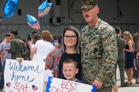 U.S. Marines with 2nd Marine Aircraft Wing (MAW) attached to the 26th Marine Expeditionary Unit (MEU) are welcomed home on Marine Corps Air Station New River, North Carolina. (U.S. Marine Corps/Jailine L. Martinez)