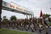 Marine Corps recruits of Fox Company, 2nd Recruit Training Battalion, finish the last stretch of a nine-mile hike Aug. 30, 2017, at Parris Island, S.C. (U.S. Marine Corps photo by Lance Cpl. Joseph Jacob)