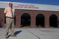 Camp Lejeune High School Principal Eric Steimel stands in front of the school in this 2011 file photo. (U.S. Marine Corps/Bryan A. Peterson)