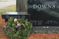 A project organized by a retired Kentucky Air National Guardsman placed a wreath on the grave of Chief Master Sgt. Tommy Downs and more than 130 other unit members last year. Downs, a former command chief of Kentucky's 123rd Airlift Wing, passed away in 2009. (Photo courtesy of Lee East)