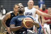 Army veteran RJ Anderson sinks a free throw at Hofstra University on Long Island, N.Y., Sept. 19, 2017, as the U.S. wheelchair basketball team trains for the 2017 Invictus Games. (DoD photo by Roger L. Wollenberg)
