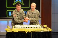 Army birthday cake cutting