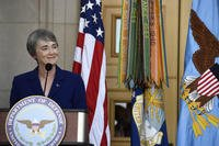 Newly sworn Secretary of the Air Force Heather Wilson thanks family, friends and colleagues during her ceremonial oath of office as the 24th secretary, at the Pentagon event, May 16, 2017. (U.S. Air Force photo/Wayne A. Clark)
