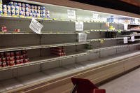 Many shelves at the Kadena Air Force Base Commissary in Okinawa, Japan were bare, as shown in this Jan. 5 photo, as the commissary experiences shipping and stocking problems worldwide. (Facebook)
