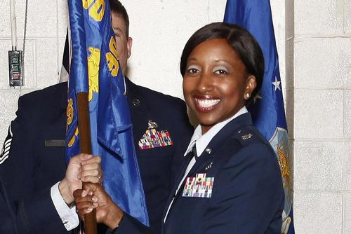 Lt. Col. Erin Weatherly receives the guidon as she assumes command of the 90th Civil Engineer Squadron at F.E. Warren Air Force Base, Wyoming, on June 15, 2017. Weatherly and Chief Master Sgt. James Clark were removed from their leadership positions at the squadron May 2. Lan Kim/Air Force