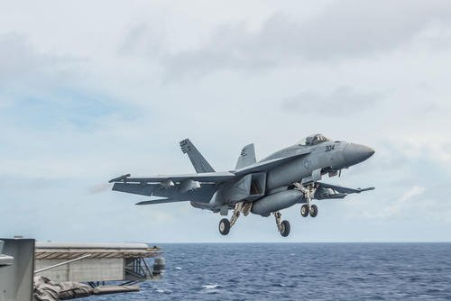 "An F/A-18E Super Hornet assigned to the ""Eagles"" of Strike Fighter Squadron (VFA) 115 launches from the flight deck of USS Ronald Reagan (CVN 76). Oct. 1, 2016. (U.S. Navy photo/Nathan Burke)"