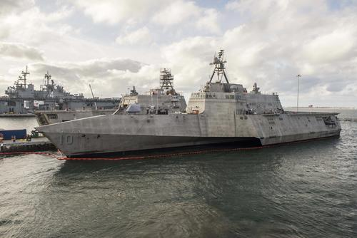 The Independence-variant littoral combat ship USS Gabrielle Giffords (LCS 10) at Naval Base San Diego preparing to conduct Final Contract Trials, November 20, 2017. (U.S. Navy/Mass Communication Specialist 3rd Class Abby Rader)