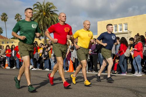 The new Marines of Delta Company, 1st Recruit Training Battalion, conduct a motivational run at Marine Corps Recruit Depot San Diego, January 10, 2019. (U.S. Marine Corps/ Lance Cpl. Jose Gonzalez)