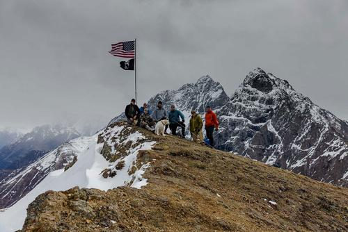 Mount POW/MIA stands at 4,000 feet in the Chugach Range in Alaska. A group of veterans led by Kirk Alkire regularly replaces the flags that mark the summit. (Photo: Courtesy of Kirk Alkire.)