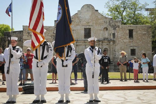A Navy color guard unit parades the colors during Navy Day at the Alamo as part of Fiesta in downtown San Antonio, April 27, 2017. (U.S. Navy photo/Mass Communication Specialist 1st Class Jacquelyn D. Childs)